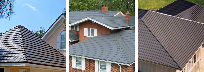 three different roofing styles